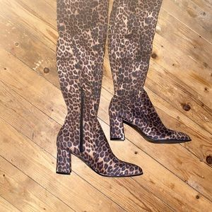 Marc Fisher  leopard boots 8.5